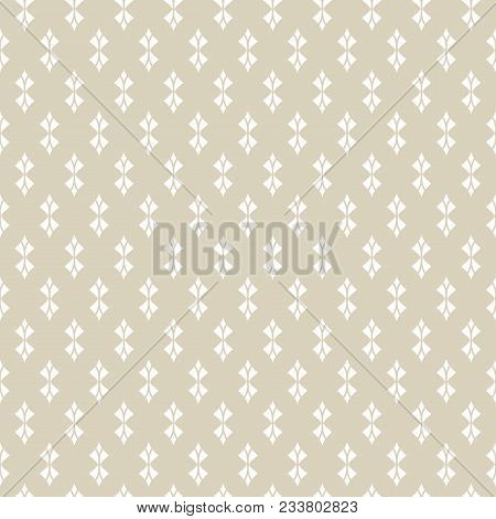 Golden Geometric Seamless Pattern. Abstract Monochrome Background With Curved Shapes, Rhombuses, Fea