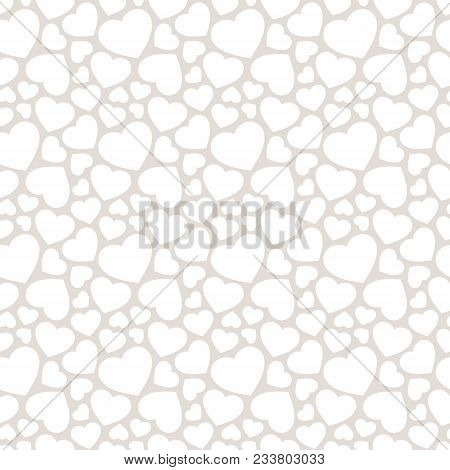 Love Romantic Seamless Pattern With Hearts. Subtle White And Gray Background