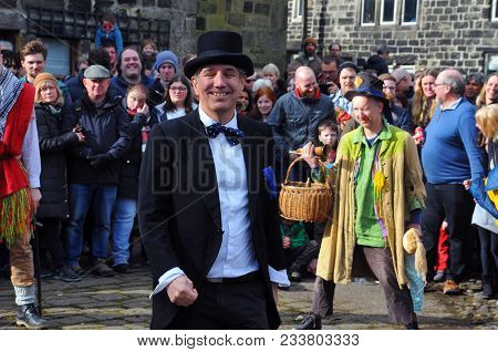 Heptonstall, Uk - March 20 2018. Actors In The Traditional Good Friday Pace Egg Play In Heptonstall