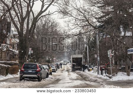Toronto, Canada - December 21, 2016:typical North American Suburban Street In The Suburbs Of Toronto