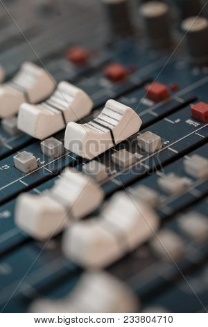Close Up Of Music Mixer Equalizer Console For Mixer Control Sound Device. Sound Technician Audio Mix