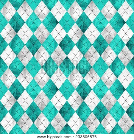 Argyle Seamless Plaid Pattern. Watercolor Hand Drawn Gray Teal White Texture Background. Watercolour