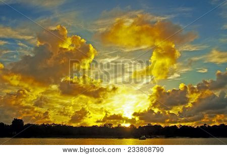 A Spectacular Inspirational Brightly Coloured Cloudy Sea Water Tropical Panoramic Sunrise Seascape F
