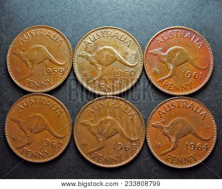 Vintage Pre-decimal Australian Coins. Pennies With The Reverse Side Displaying The Australian Kangar
