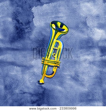 Watercolor Copper Brass Band Trumpet On A Blue Background