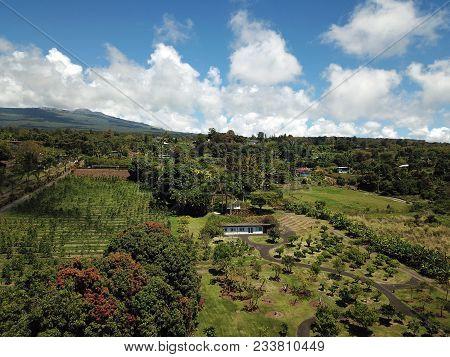 Aerial View Of Volcano Slopes Big Island Hawaii