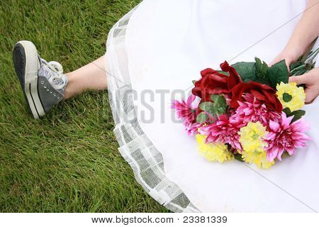 Running Shoes And Wedding Dress