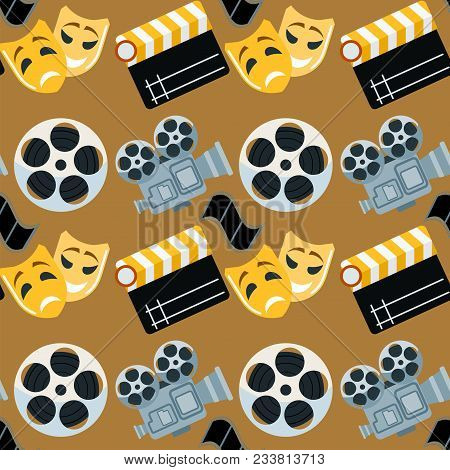 Cinema Genre Cinematography Seamless Pattern Background Flat Entertainment Movie Production Vector I