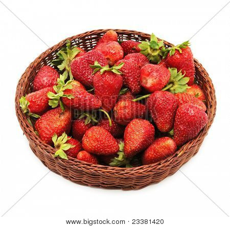 strawberry in lug-box isolated on a white background