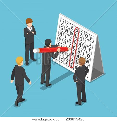 Flat 3d Isometric Businessman Found Success In Word Search Puzzle. Business Success Concept.