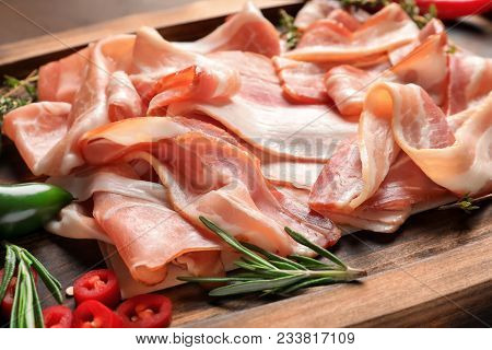 Board With Raw Bacon Rashers, Close Up
