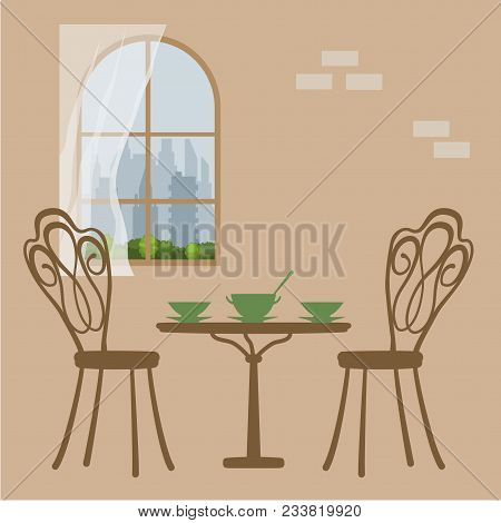 Vector Illustration Of Table In Restaurant For Lunch