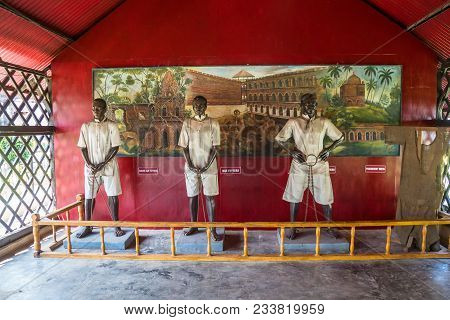 Port Blair, Andaman Islands. India. January 12, 2018: Statue Of An Indian Political Prisoner In The
