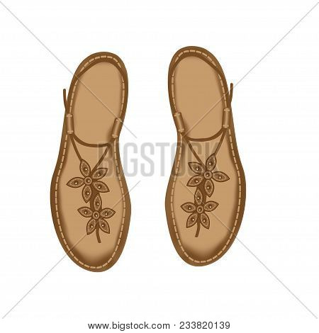Vector Illustration Of Leather Sandals For Women, Decorated With Stitch And Flowers. Summer Women S