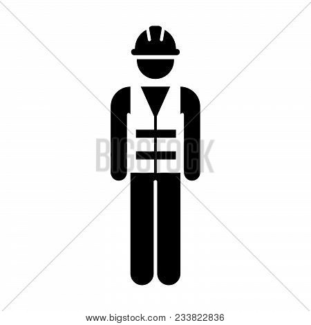 Worker Icon Vector Male Service Person Of Building Construction Workman With Hardhat Helmet And Jack