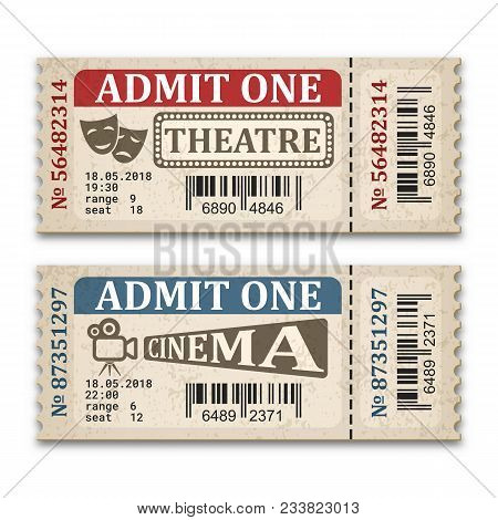 Cinema And Theater Tickets In Retro Style. Two Admission Tickets Isolated On White Background. Vecto