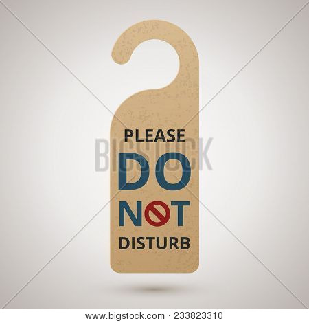 Do Not Disturb. Cardboard Door Hanger, Vector Illustration