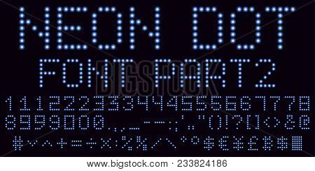 Neon Dot Font In Blue, Part 2. Vector Handmade Alphabet Consisting Of Neon Dots. Uppercase Neon Digi
