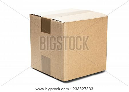 Cardboard Box For Post Service On Isolated White Background. Parcel With Empty Space For Your Text.