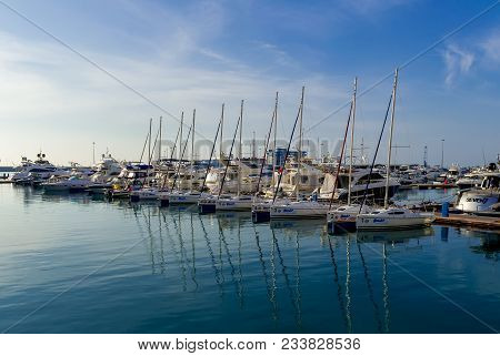 Sochi, Russia - November 18, 2017: Yacht Parking In Harbor, Harbor Yacht Club In Sochi, Russia. Beau