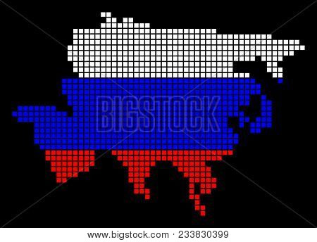 A Dotted Pixel Asia Map. Vector Geographic Map In Russia Flag Colors On A Black Background. Russian