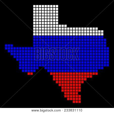 A Dotted Pixel Texas Map. Vector Geographic Map In Russia Flag Colors On A Black Background. Russian