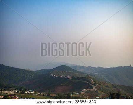 Mountains And Buildings On Hills, Pu Tub Berk, Phetchabun, Thailand