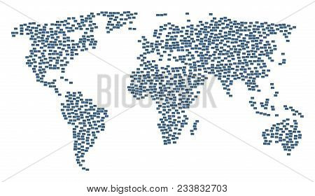 World Concept Map Created Of Bank Card Items. Vector Bank Card Scattered Flat Items Are Composed Int