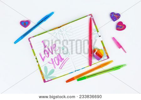 Notebook With Stationery On A White Table. Copy Spase