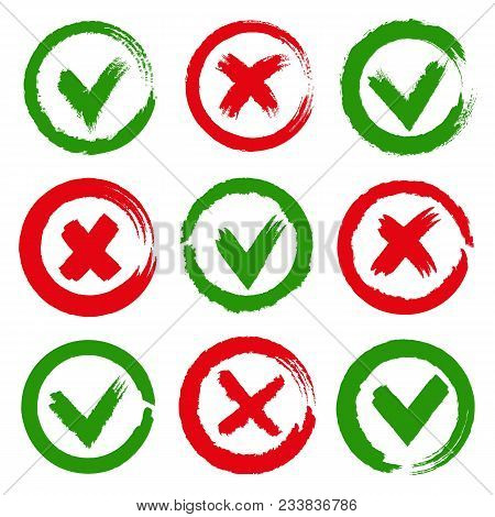 Yes And No Checkmarks. Paint Brushes Green Yes Tick And Red Cross X Symbols, Wrong And Approved Sign
