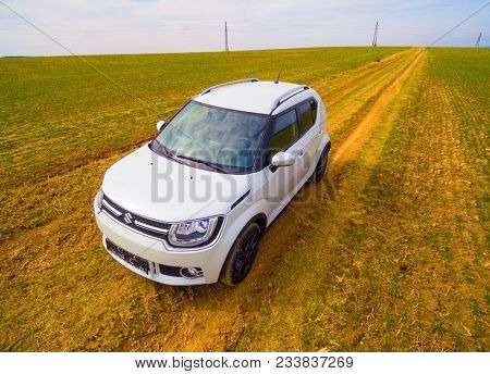 PILSEN / CZECH REPUBLIC - MARCH 30, 2018: New Suzuki Ignis car with 1.2 Dualjet engine is a Japanese small 4WD crossover for easy ride in city streets and rural dirty roads. Ecological technology.