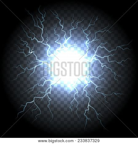 Ball Lightning. Electric Vector Lightning Flash Explosion, Electrical Energy Power Sphere
