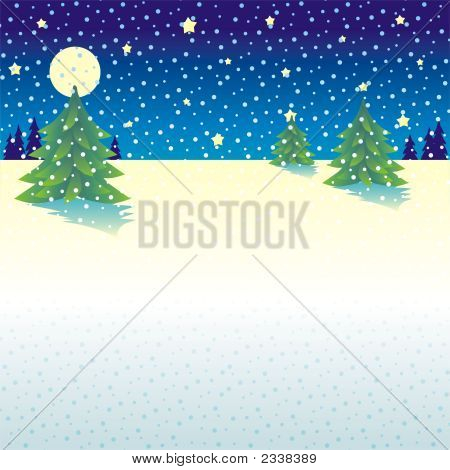 Snowy Night Christmas Or Winter Background