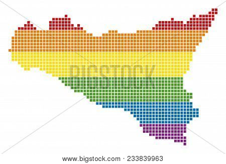 A Pixel Lgbt Pride Sicilia Map For Lesbians, Gays, Bisexuals, And Transgenders. Vector Homosexual To