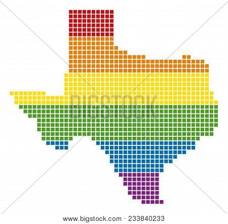 A Pixel Lgbt Pride Texas Map For Lesbians, Gays, Bisexuals, And Transgenders. Vector Homosexual Tole