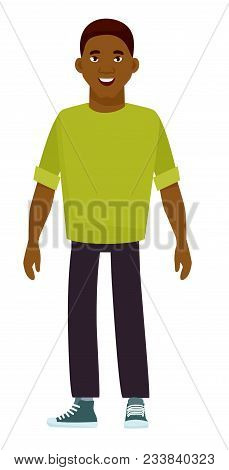 Young Black African American Young Boy. Vector Illustration In Cartoon Style