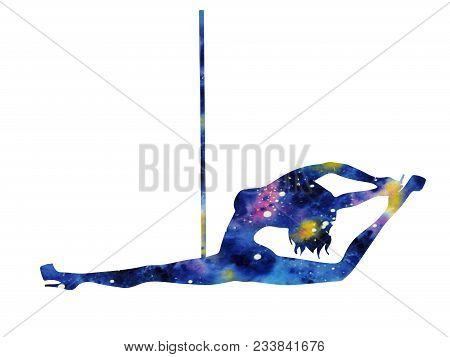 Silhouette Of Girl And Pole On A White Background. Pole Dance Illustration For Striptease Dancers, E