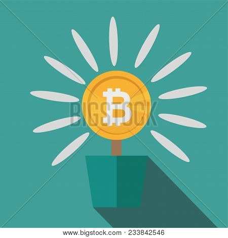 Bitcoins Flower Concept Of Virtual Money For Bitcoin And Blockchain. Vector Illustration Bitcoin Bus