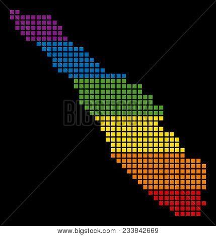 A Pixel Lgbt Pride Sumatra Island Map For Lesbians, Gays, Bisexuals, And Transgenders. Vector Homose