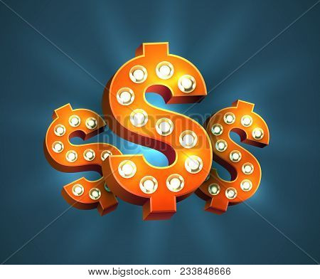 Cool 3d Red Dollar Signs With Light Bulbs. Vector Bright And Eye-catching Usd Symbol For Slot Machin