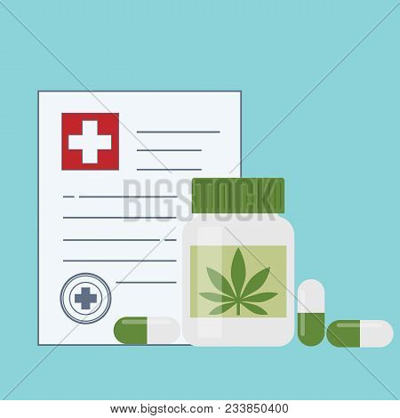 Bottle With Medical Marijuana And Medical Cannabis Pills - Marijuana Tablets. Medical Marijuana In H
