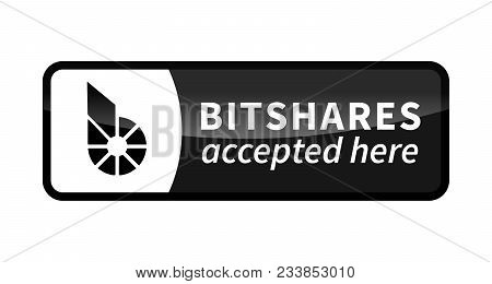 Bitshares Accepted Here, Black Glossy Badge Isolated On White