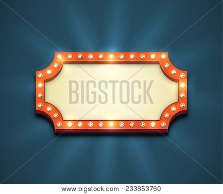 Beautiful Rectangle Retro Empty Marquee With Light Bulbs And Yellow Placeholder. Old American Style
