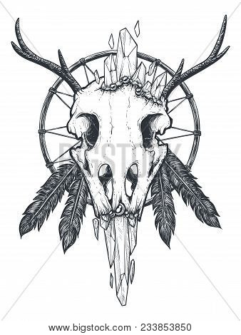 Strange indian totem with a crow skull vector art. Dreamcatcher with feathers and a horned bird head. Crystals growing out of the beak. Black and white print or tattoo. Magical attribute illustration. poster