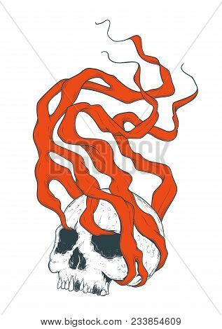 Vector Dotwork Art Of A Smoking Skull. Human Dead Head Whirlwind Of Red Magical Fumes. Simple And Sk