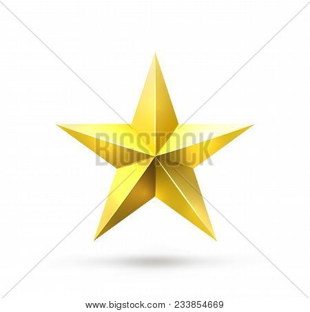 Vector Realistic Gold Star Isolated On White. Shiny And Glossy Yellow Five-pointed Star Icon. Symbol