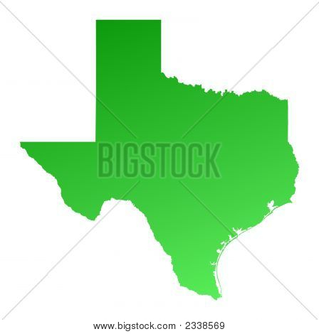 Green gradient Texas map USA. Detailed Mercator projection. poster