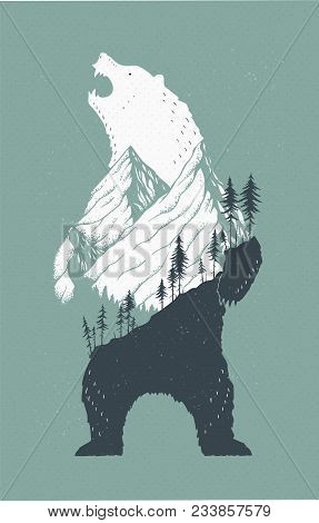 Vector Illustration Of A Standing Bear With A Mountains Landscape In Its Outlines. Cool Trendy Growl