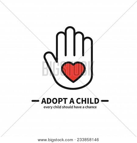 Adopt A Child. Hand With Heart Line Icon. Volunteer Help Care Protection Support Theme. Child Adopti