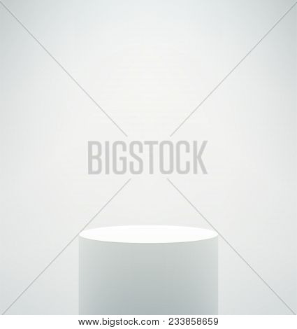 Empty Vector Realistic Pedestal. White Cylinder Stand On White Background. Round Podium With Shadows